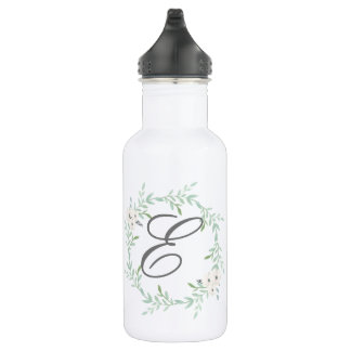 initial monogram floral wreath bottle