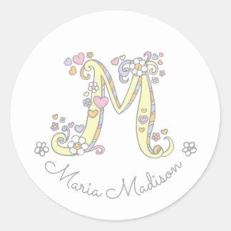 Initial monogram M custom name id name stickers