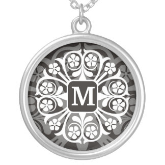 Initial Monogram M Letter Pendant Necklace