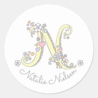 Initial monogram N custom name id name stickers