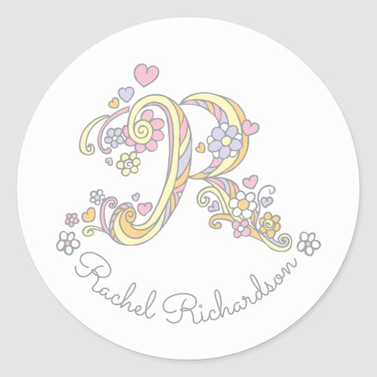 Initial monogram R custom name id name stickers