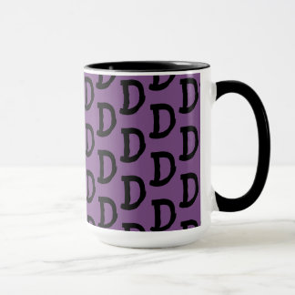 "Initial mug for coffee, tea, purple, black, ""D"""