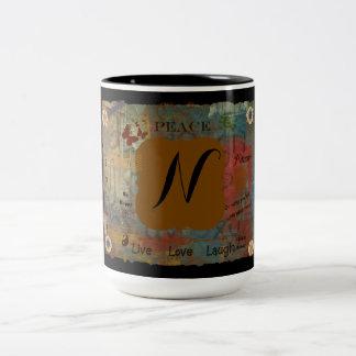 Initial N Two-Tone Coffee Mug