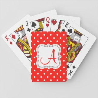 Initial name polka dot monogram elegant red playing cards