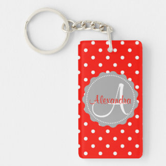 Initial name polka dot monogram pattern red Double-Sided rectangular acrylic keychain