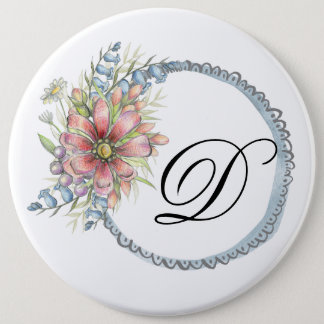 Initial personalized button with flower and heart