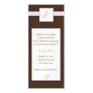 "Initial Pink 4"" X 9.25"" Invitation Card"