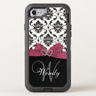Initial, Pink, Black Damask Pattern OtterBox Defender iPhone 7 Case