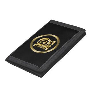 Initial R Letter in Gold Tri-fold Wallet