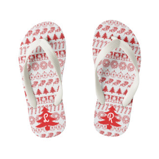Initial - Red/White Christmas Fun Font Pattern Kid's Flip Flops