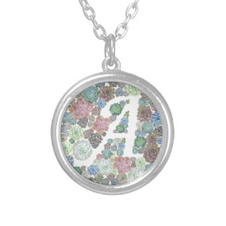 Initial succulents design A Round Pendant Necklace