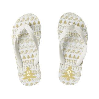Initial - Teal/White Christmas Fun Font Pattern Kid's Flip Flops