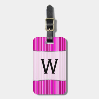 Initial + Thin Magenta and Pink Stripes Pattern Bag Tag