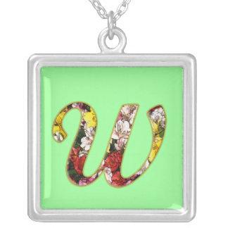 Initial W Monogram Necklace