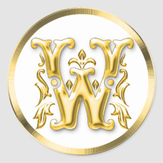 Initial W Round Sticker in Gold