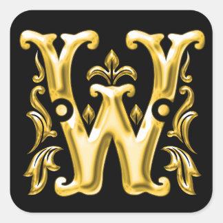 Initial W Sticker in Gold
