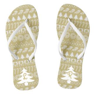 Initial - White/Gold Christmas Fun Font Pattern Flip Flops
