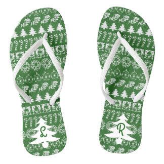 Initial - White/Green Christmas Fun Font Pattern Flip Flops