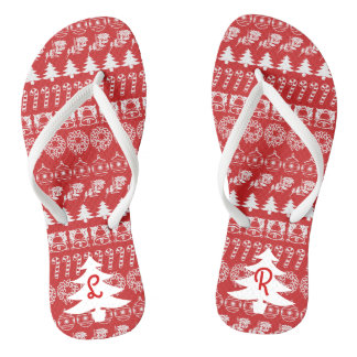 Initial - White/Red Christmas Fun Font Pattern Flip Flops