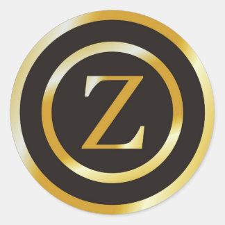 Initial Z Gold Monogram Wedding  Stickers