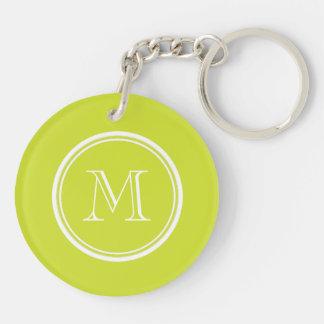 Initiale colorée à extrémité élevé de monogramme porte-clé rond en acrylique double face