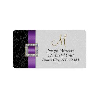 Initiale noire pourpre d or de damassé épousant RS Étiquettes D'adresse