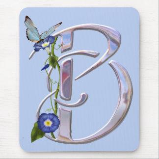 Initiale précieuse B de papillon Tapis De Souris