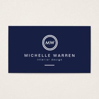 Initiales modernes de monogramme de cercle sur le cartes de visite