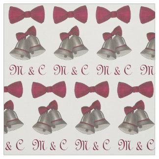 Initiales personnalisées Bells argentées épousant Tissu