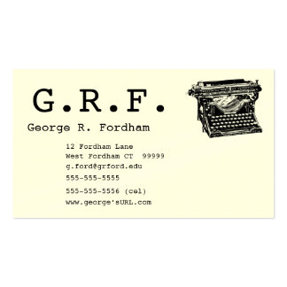 Initials and Typewriter Pack Of Standard Business Cards