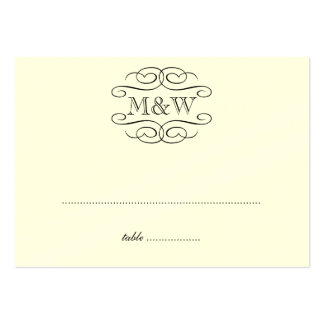 Initials black scroll wedding escort seating place large business card