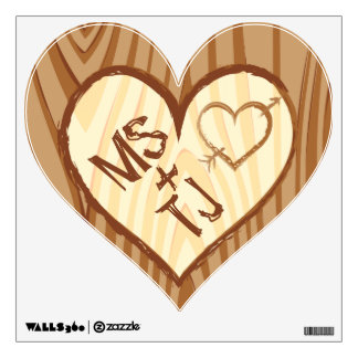 Initials Carved in Wood - Custom Heart Wall Decal