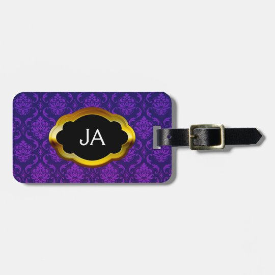Initials Damask Pattern Luggage Tag