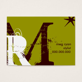 Initials Green Chubby Business Card