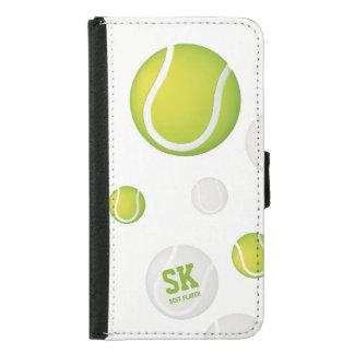 Initials Green Tennis Ball Samsung Galaxy S5 Wallet Case