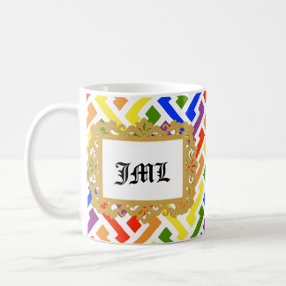 Initials in Photo Frame (Rainbow) Coffee Mug