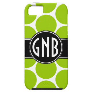 INITIALS LIME GREEN POLKA DOTS iPhone 5 Case