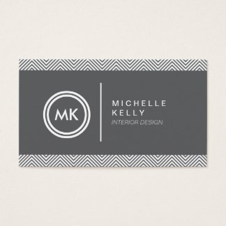 INITIALS LOGO with CHEVRON PATTERN 2 Business Card