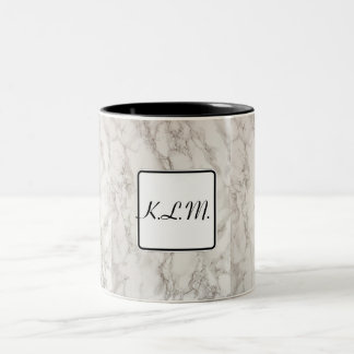 Initials. Marble effect. Two-Tone Coffee Mug