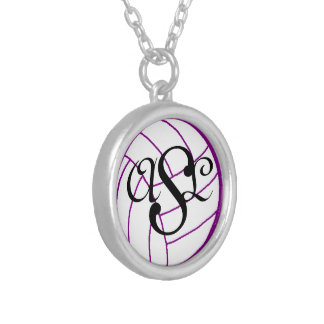 Initials Monogram Volleyball Necklace