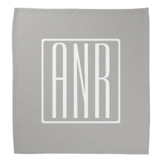 Initials Monogram | White On Light Grey Bandana