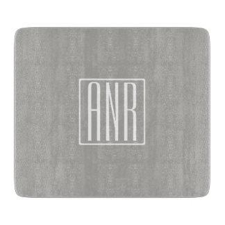 Initials Monogram   White On Light Grey Cutting Board