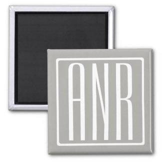 Initials Monogram | White On Light Grey Magnet