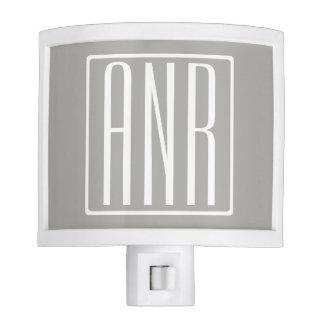 Initials Monogram | White On Light Grey Night Lights