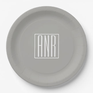 Initials Monogram | White On Light Grey Paper Plate