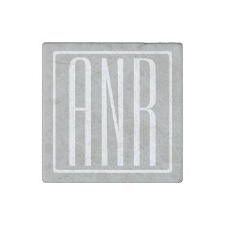 Initials Monogram | White On Light Grey Stone Magnets