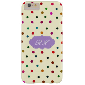 Initials MultiColored Vintage Polka Dots. Monogram Barely There iPhone 6 Plus Case