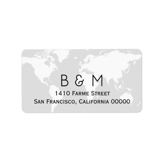 initials on light grey map of the world label