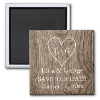 Initials on wood heart wedding Save the Date Magnet