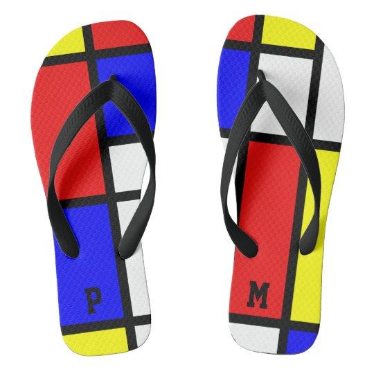 Initials Piet Mondrian Style Modern Art Pattern Flip Flops